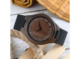 Dřevěné hodinky - Brown circle