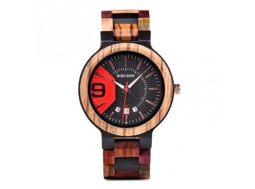 Dřevěné hodinky - BOBO BIRD RED steel