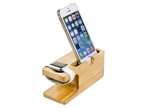 bambusový stojan na telefon a cyhtré hodinky